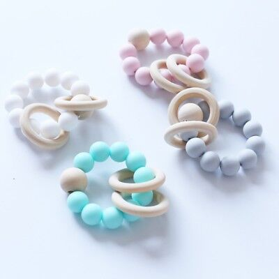Baby Teether Bracelets Silicone wood beads Chewable Teething Molar Safety Toys