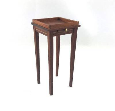 Vtg SIGNED Artisan 1:12 Dollhouse Miniature Wood Plant Stand Table  w/ Shelf