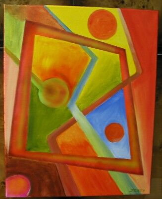 "Jerzyart painting original  "" Square Runner"" abstract on canvas."