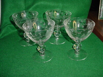 "Four Antique Floral Etched Champagne/Sherbet Stemware Glasses~ 4 1/2"" Tall"