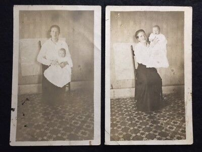 1915-30s  (2)  VINTAGE ANTIQUE  EARLY {{{REAL PHOTO}}}  UNPOSTED POSTCARD! RARE!
