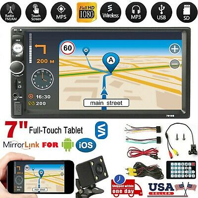 "🔥7"" 2DIN Car MP5 Player Bluetooth Touch Screen Stereo Radio FM USB TF +Camera"