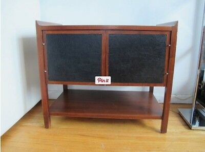 Vintage Mid Century Danish Modern Walnut & Leather Compact Cabinet Bench Table