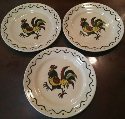"3 Vintage Metlox California Provincial Poppytrail Rooster 10"" Dinner Plates"