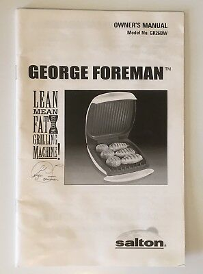 George Foreman Grill Owners Manual Instructions + Recipes Salton Model GR26BW