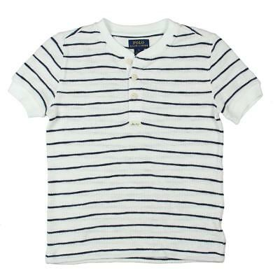 Polo Ralph Lauren Boys White Striped Picture Day Henley Shirt Top 6 BHFO 6843