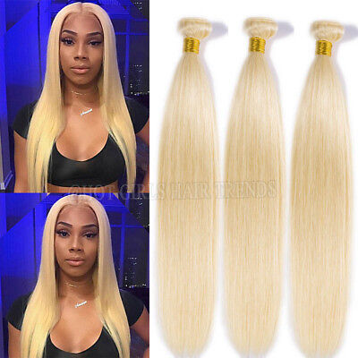 613 Bleach Blonde Virgin Human Hair Brazilian Straight Hair 150g/3Bundles HQ