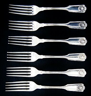 "Lot Of 6 Frank W. Smith SHELL Forks Sterling Silver 7"" (A5136)"