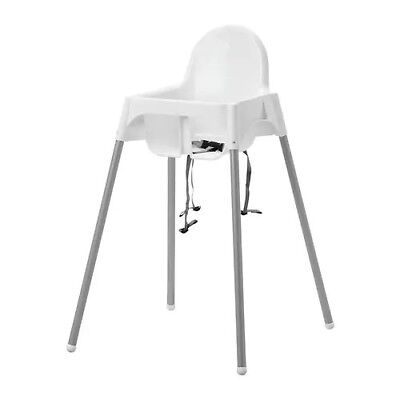 ANTILOP High chair with safety belt, white, silver color