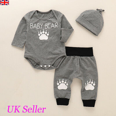 UK Newborn Infant Baby Boys Outfit Clothes Long Sleeve Romper Tops+Pants+Hat Set