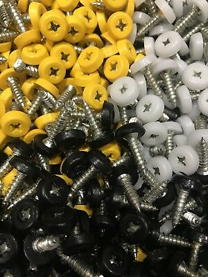 Number Plate Screws White Black Yellow