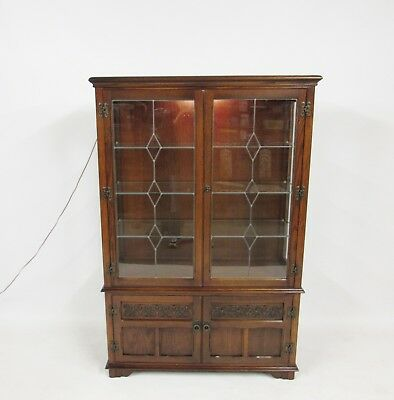 Wood Bros Old Charm Tudor Brown Lead Glazed Display Cabinet Model 1918  Delivery