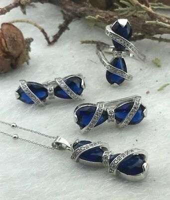 925 Sterling Silver AAA Quality Handmade Jewelry Blue Sapphire  Ladie's Set