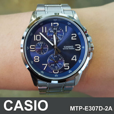 Genuine Casio MTP-E307D-2A Silver Stainless Steel Band Men's Casual Analog Watch