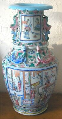"19th Cent Large (17"") Chinese Famille Rose Canton Figural Vase"