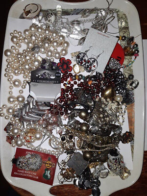 Job Lot Of costume jewellery old new spares repairs or craft  834g 2