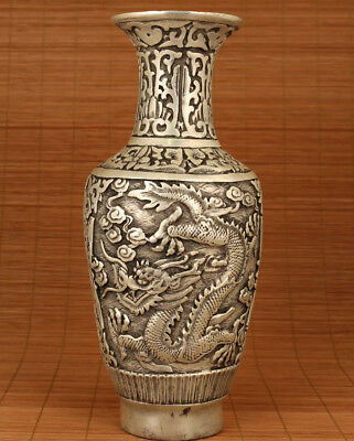 Valuable Big Chinese Old tibet silver Hand Carved Dragon Statue copper vase