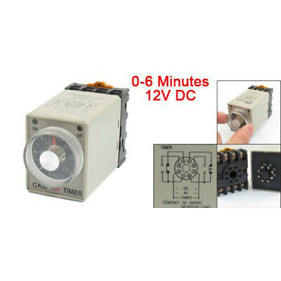 0-6 Minutes 8 Pin Plastic Housing Delay Timer Time Relay DC 12V AH3-3 w Bas Z1N8