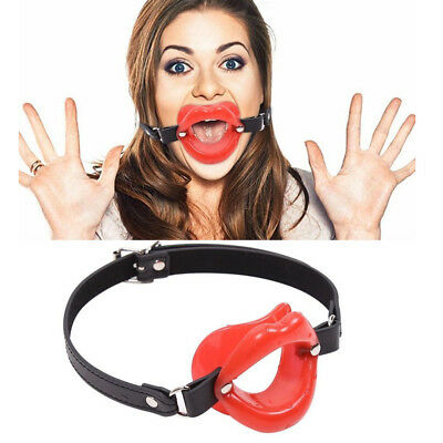 Soft Lip Shape Open Mouth Gag Oral  Fixation Leather Fixation Harness Slave Toy