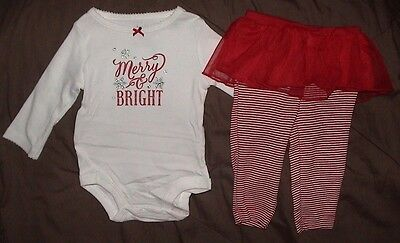 Merry & Bright-White Top & Red Striped Leggings With Lace Skirt-Size 6 Month-Nwt