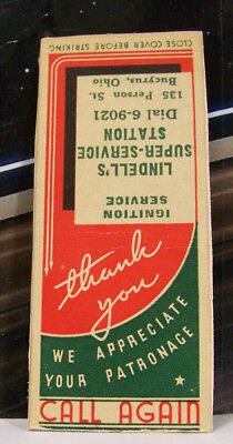 Rare Vintage Matchbook Cover H2 Bucyrus Ohio Lindell Ignition Service Patronage