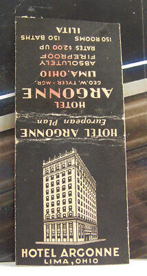 Rare Vintage Matchbook Cover Y1 Lima Ohio Hotel Argonne European Plan Absolutely