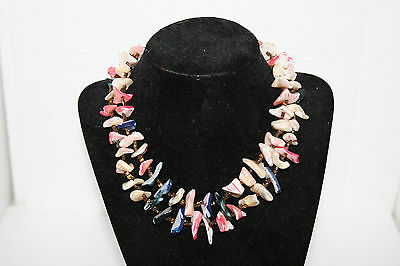 Vtg Handcrafted Japan Two Strand Multicolored Mother Of Pearl Shell Necklace