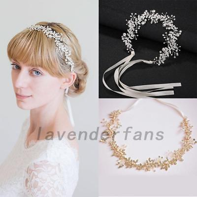 Wedding Bridal Headband Crystal Floral Hairpiece Leaf Vine with Lace Ribbon Belt