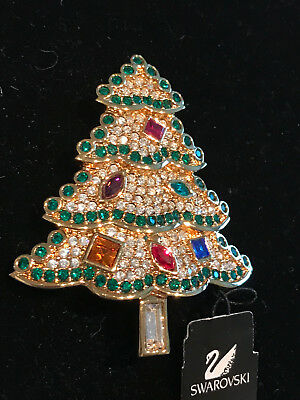 Gorgeous Signed with the Swan Swarovski Christmas Tree Pin.