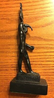 Ancient Egyptian Metal God Ibis Thoth With Atef Crown Statue