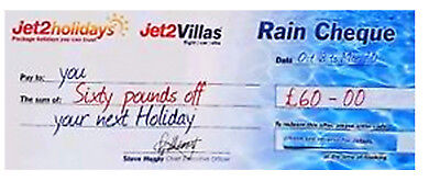 jet2 £60 Rain Cheque ,Saving On A Holiday For 2 or More