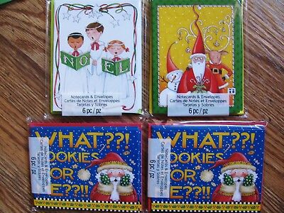 Lot of 4 new pkgs Mary Engelbreit Christmas note cards - 3 designs, 24 cards