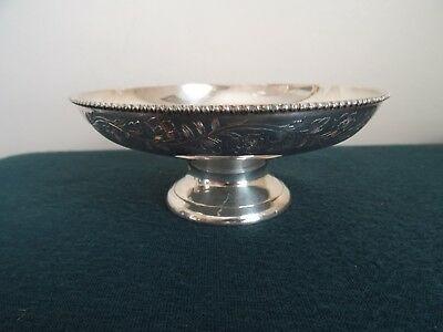 Indian Silver Plate Plain Engraved Flowers Beaded Trim Pedestal Dish