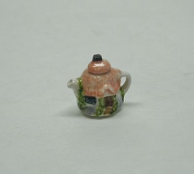 Dollhouse Miniature Artisan Signed Valerie Casson Round Cottage Teapot