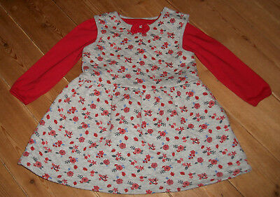 Red top & grey floral print winter dress oufit set size 12-18 months