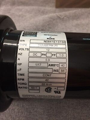 """Bodine Gear Motor 12Vdc 60:1 Ratio 1/2"""" Shaft With Chicago Die Casting Pulley !"""