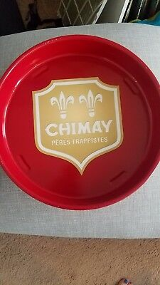 """Chimay Peres Trappist Metal Beer Serving Tray 14"""" Rare Belgian Ale"""