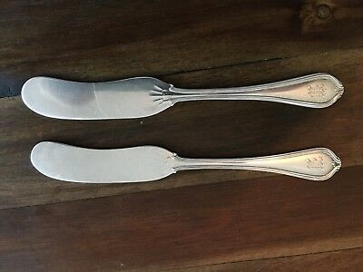 Pair of Antique Sterling Silver Spreader Knives 1.7 ounces
