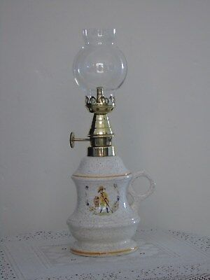 Vintage French Ceramic/Brass Oil Lamp ~ Cavalier Motif