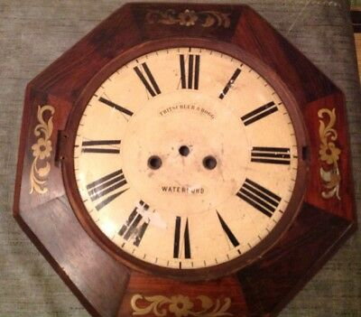 Antique German Clock Case And Face Brass Inlay Octagonal Wood 32cm Across