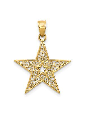 14k Yellow Gold Polished Filigree Star Charm Pendant - 19x19mm 0.67 Grams