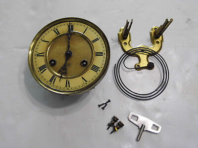 Old German Junghans 118 Wall Clock Movement Mounting Plate Key for Parts Repair