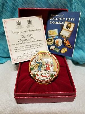 HALCYON DAYS ENAMELS - 1985 Christmas Box, with original red box & COA
