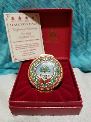 HALCYON DAYS ENAMELS - 1988 Christmas Box, with original red box & COA