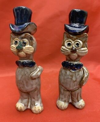 2- 1985, Owens, N C Art Pottery, Janet Bolick, Rare Figural Cats,