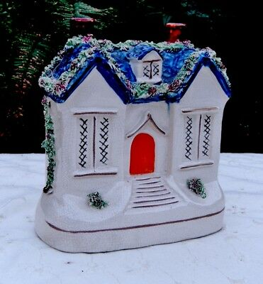 VICTORIAN STAFFORDSHIRE COTTAGE MONEY BOX MID 1800's GREAT COLOURING & CONDITION