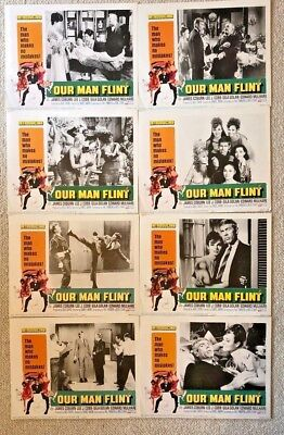 OUR MAN FLINT 1966 Lobby Card Set in original sleeve NEW/MINT -  FREE SHIP! SALE