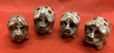 4- Owens, N C Art Pottery, Janet Bolick, Figural Spotted Pigs