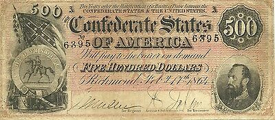 1864 $500 Confederate Civil War Currency - Stonewall Jackson - Attractive Note
