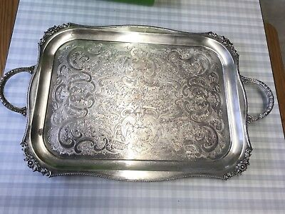 "1960S Viners 22"" Silver Plated Serving Tray Ornate Embossed Handles"